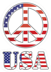 United States Flag Peace Sign Sticker