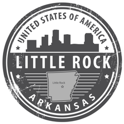 United States Of America Little Rock Arkansas Circle Stamp Sticker