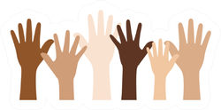 Unity, People With Different Skin Colors Raising Hands Sticker