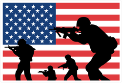 us army soldiers silhouette against usa flag sticker us army soldiers silhouette against usa flag sticker