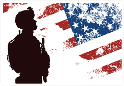 Us Soldier With The American Flag In The Background Sticker