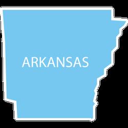 Us State Arkansas White Lettering Sticker