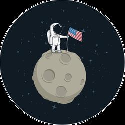 USA Astronaut on the Moon Sticker