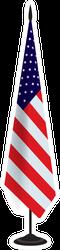 USA Flag On Flagstaff Sticker