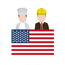 USA Flag With Chef And Businessman Sticker