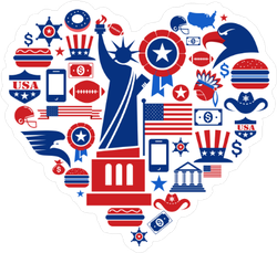 USA Heart With American Icons Sticker