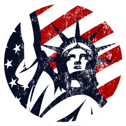USA Liberty Statue Circle Sticker