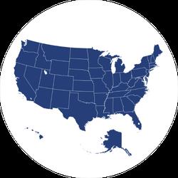 USA Map Circle Sticker