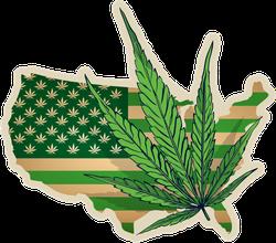 USA Map With Cannabis Leaf Sticker
