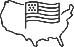 USA Map With Flag Line Sticker