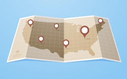 USA Map With GPS Pointers Sticker