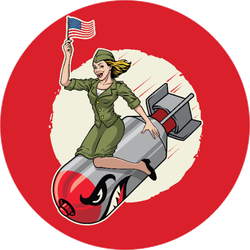 USA Pin Up Girl Riding A Nuclear Bomb Sticker