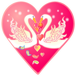 Valentines Card In The Form Of A Pink Heart With Swans Sticker