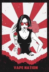 Vape Nation Tattooed Woman Sticker