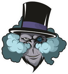 Vaping Monkey In Top Hat Sticker