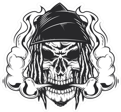 Vaping Skull With Long Hair Sticker