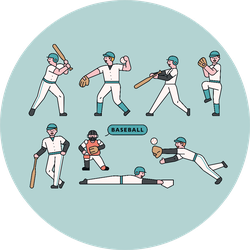Various Actions Of Baseball Players On Blue Sticker