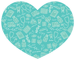 Various Medical Icons Arranged In Heart Shape Sticker