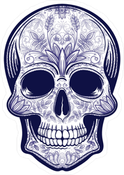 Vector Blue Tattoo Skull Sticker
