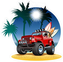 Vector Cartoon 4x4 Car On Beach Sticker