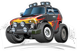 Vector Cartoon 4x4 Car Sticker