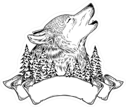 Vector Illustration Of A Howling Wolf With Ribbon Sticker