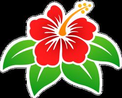 Vector Illustration Of Hibiscus Flower Sticker