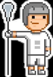 Vector Retro 8-bit Pixel Art Funny Lacrosse Player Sticker