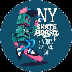 Vector Retro Robot Skateboard Sticker