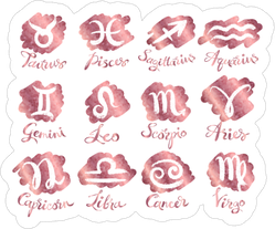 Vector Rose Gold Zodiac Signs Sticker