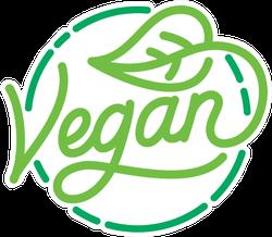Vegan Icon With Leaf Sticker