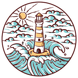 Views Of Lighthouse And Waves Circle Illustration Sticker