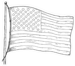 Vintage American Flag Drawing Sticker