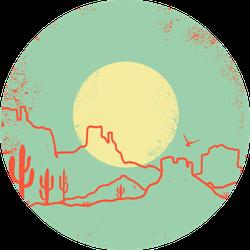 Vintage Arizona Desert With Yellow Sun And Cactuses Sticker