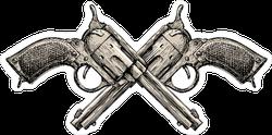 Vintage Crossed Revolvers Gun Sticker