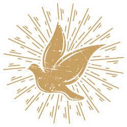 Vintage Dove With Sunburst Sticker