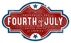 Vintage Fourth Of July Independence Day Sticker