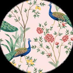 Vintage Garden Lemon Fruit Tree Peacock Pattern Pink Sticker