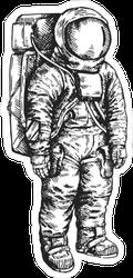 Vintage Hand Drawn Space Astronaut Illustration Sticker