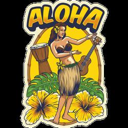 Vintage Hawaiian Dancing Girl Hawaii Sticker