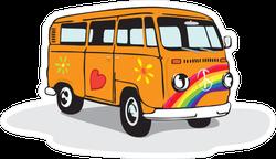 Vintage Hippie Van With Rainbow and Heart Sticker