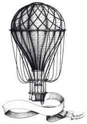 Vintage Hot Air Balloon With Waving Banner Sticker