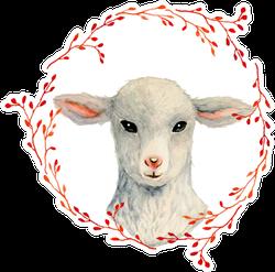 Vintage Lamb Portrait Inside Floral Wreath Sticker