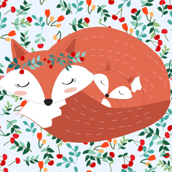 Vintage Lovely Sleeping Fox Sticker