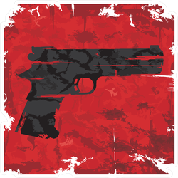 Vintage Red Grunge Gun Sticker