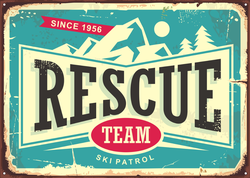 Vintage Rescue Team Ski Patrol Sticker