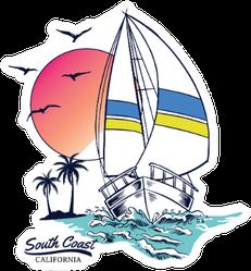 Vintage Sailboat  Illustration Sticker