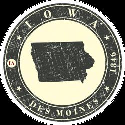 Vintage Stamp With Map Of Iowa Creation Sticker
