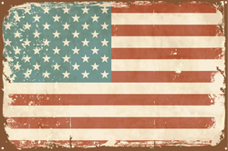 Vintage Style American Flag Tin Sign Sticker