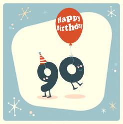 Vintage Style Funny 90th Birthday Sticker
